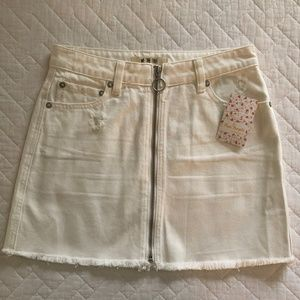 Freepeople White Jean Skirt NEW